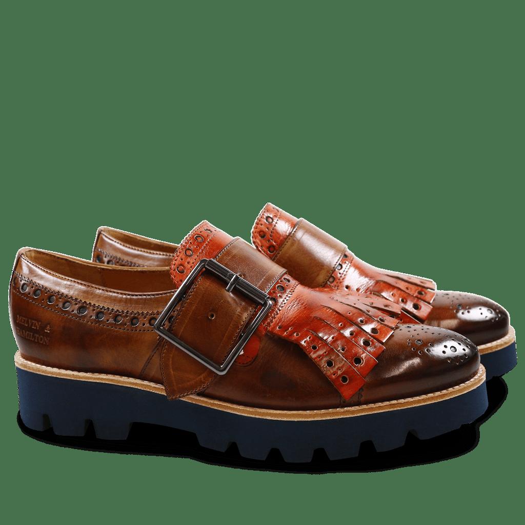 Monk Schuhe Amelie 52 Wood Kilty Winter Orange Buckle Gunmetal 543 Blue