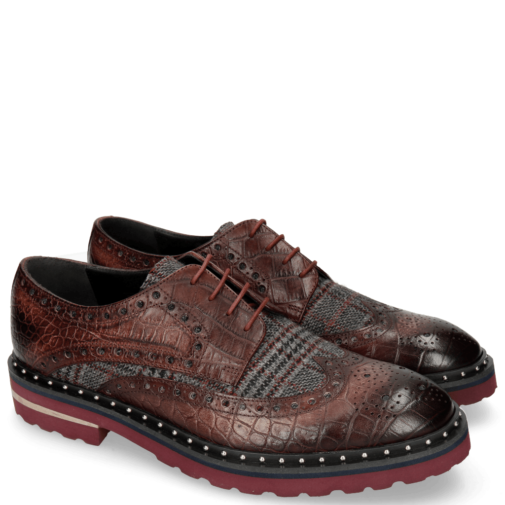 Derby Schuhe Matthew 4 Big Croco Plum Textile Retro