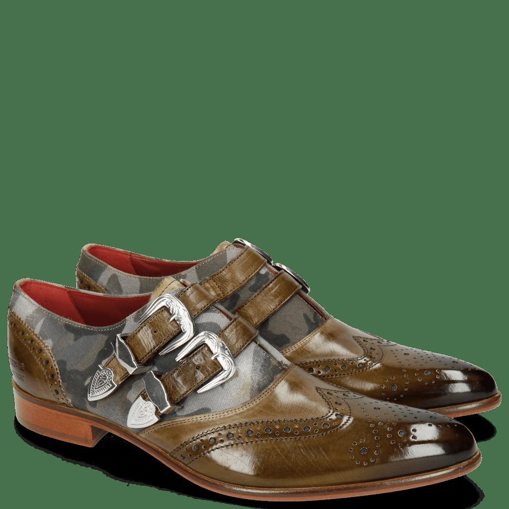 Monk Schuhe Toni 28 Olive Salvia Textile Camo Buckle