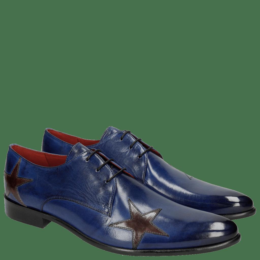 Derby Schuhe Toni 19 Electric Blue Stars Ash