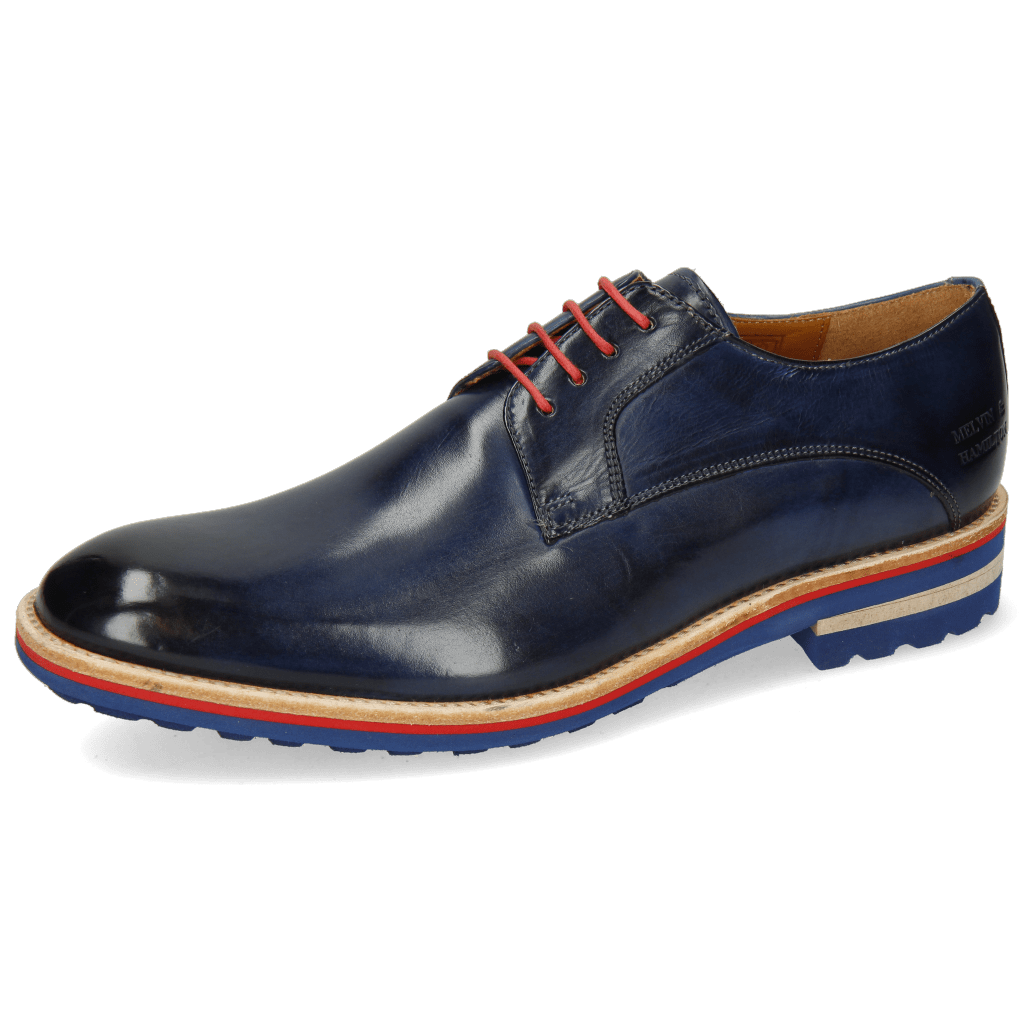 Derby Schuhe Eddy 8 Navy Laces Red