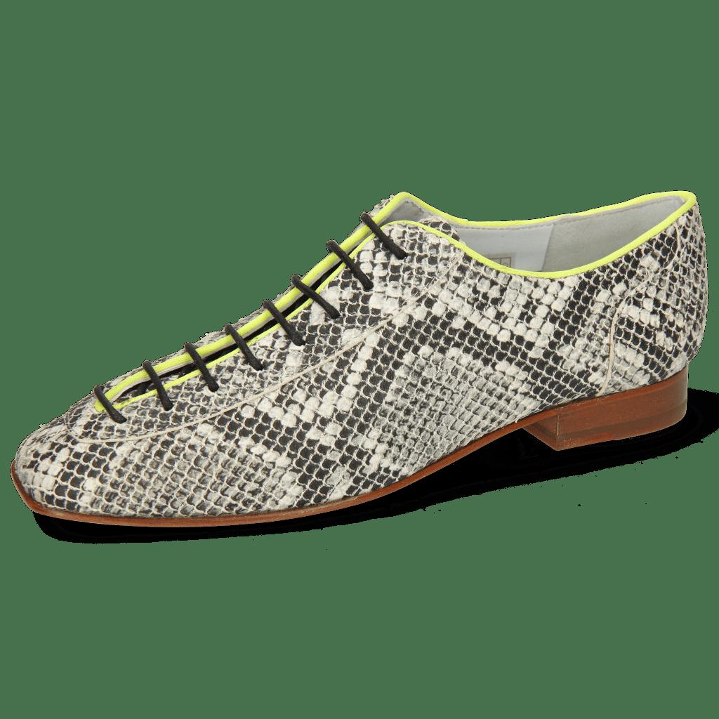 Oxford Schuhe Sofia 6  Snake Off White Binding Lycra Fluo Yellow