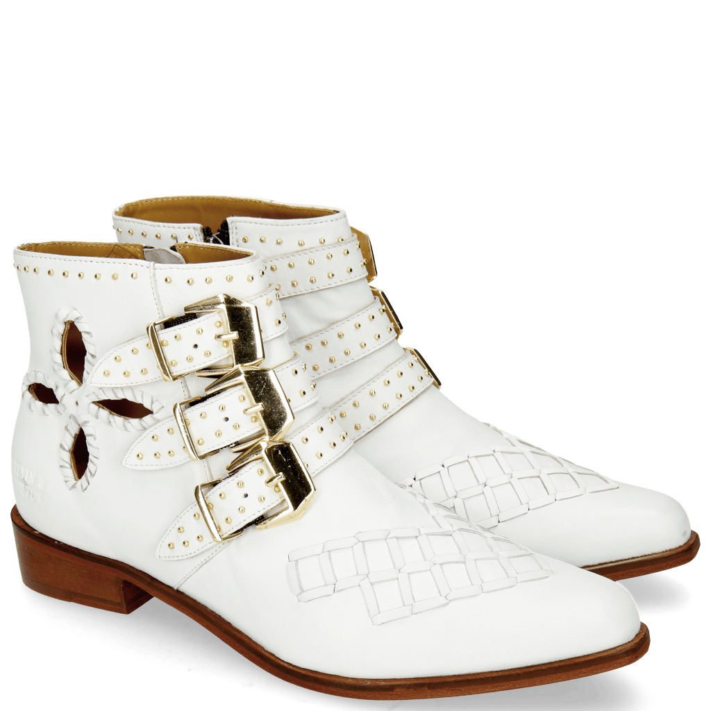 Stiefeletten Marlin 28 Nappa White Rivets Gold