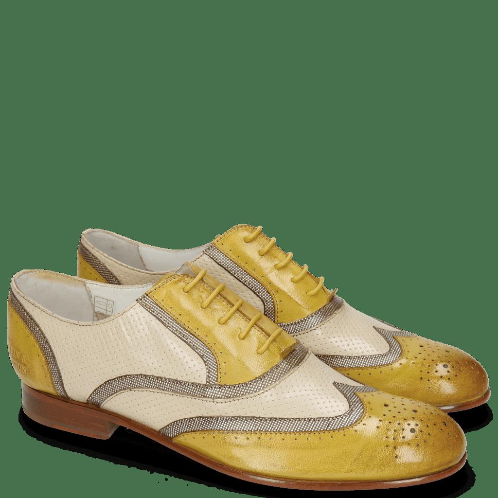 Oxford Schuhe Sally 38 Salerno English Yellow Fermont Platinum Perfo Nude
