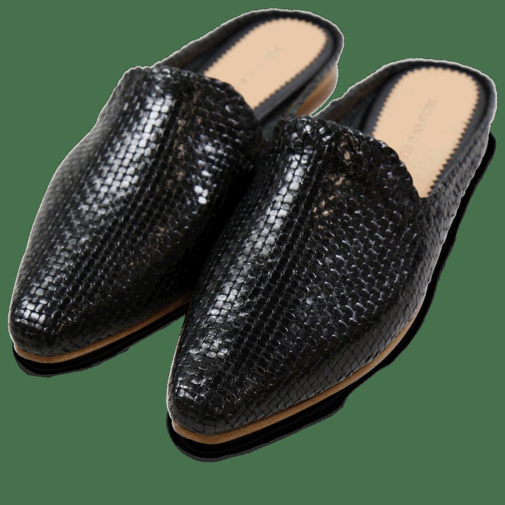 Pantoletten Joolie 10 Little Woven Black LS Natural