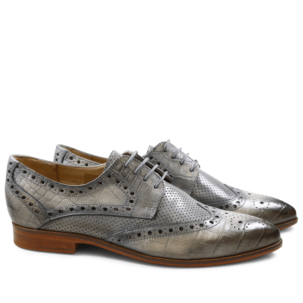 Derby Schuhe Jessy 6 Baby Croco Morning Grey Crust Perfo Morning Grey LS Natural