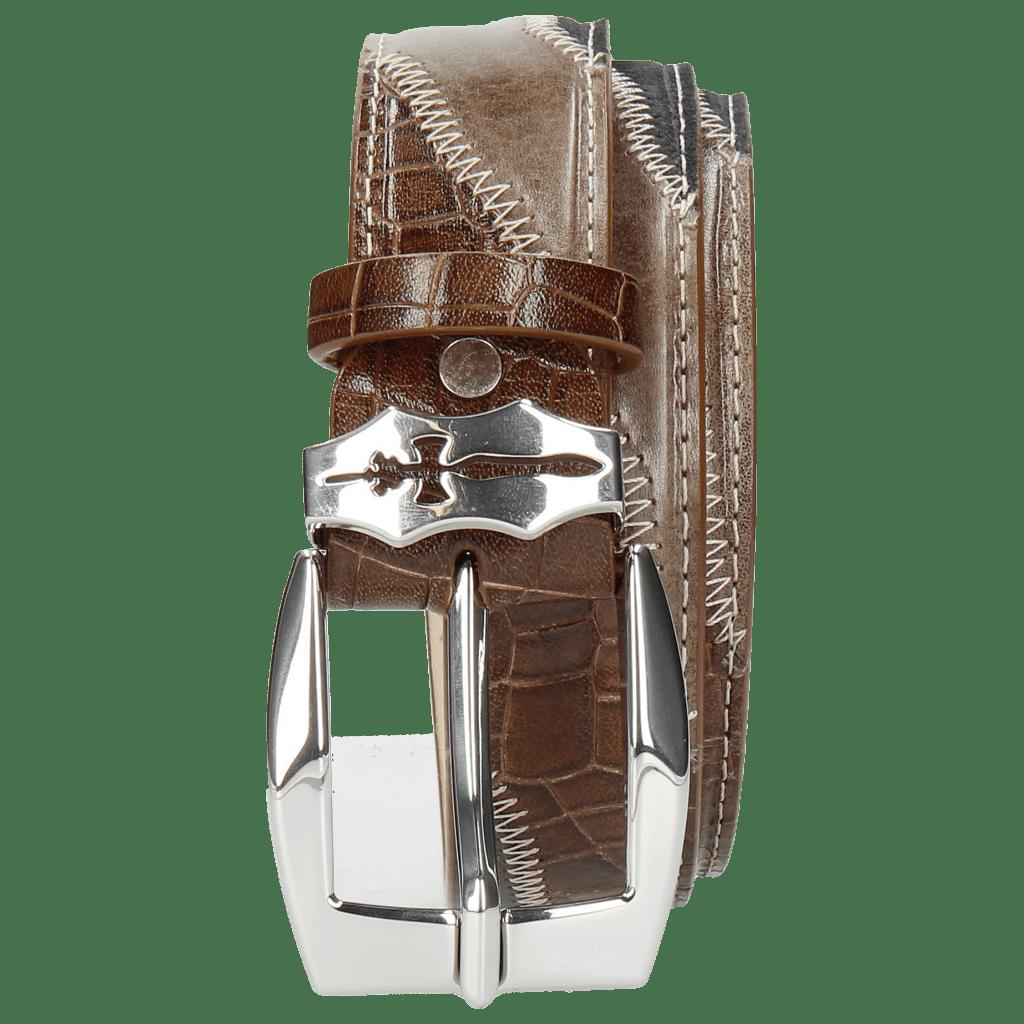 Gürtel Larry 2 Stone Suede Pattini Navy Crock Wood Sword Buckle
