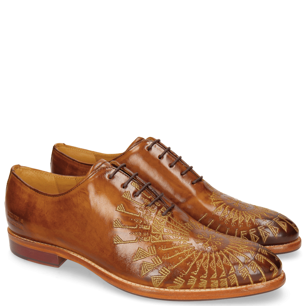 Oxford Schuhe Kane 21 Tan Embrodery Gold