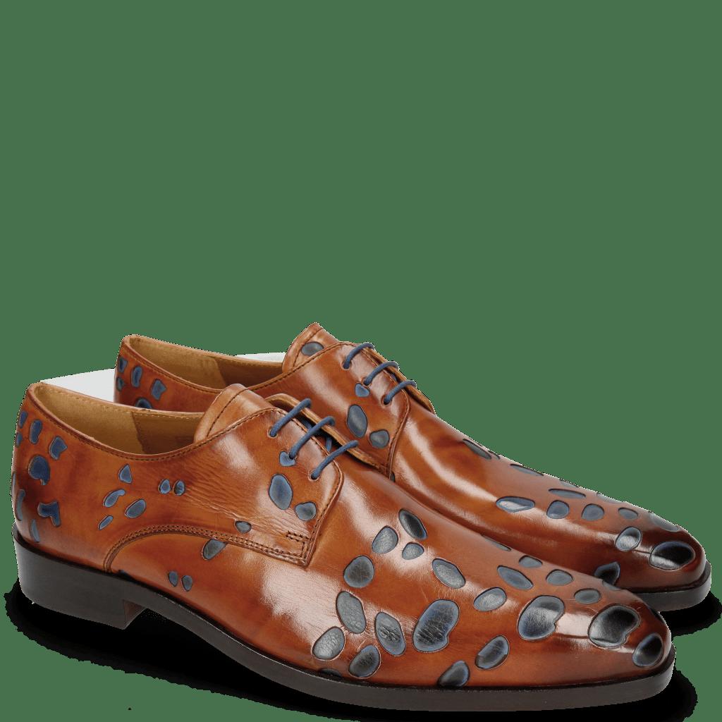 Derby Schuhe Lewis 8 Tan Underlay Electric Blue