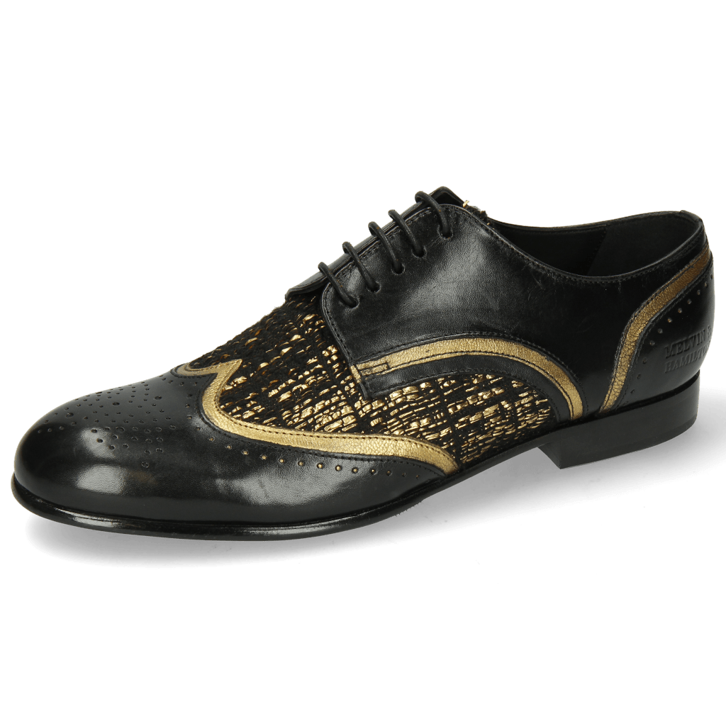 Derby Schuhe Sally 15 Black Venito Gold Textile Tweed Black Gold