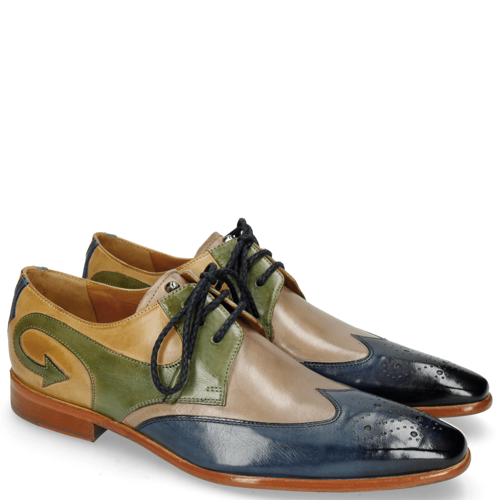 Derby Schuhe Elvis 63 Mock Navy Digital Bioalgae Olivine
