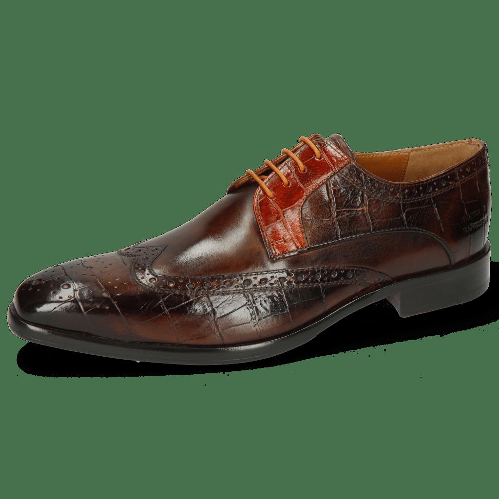 Derby Schuhe Lewis 3 Big Croco Mid Brown Winter Orange