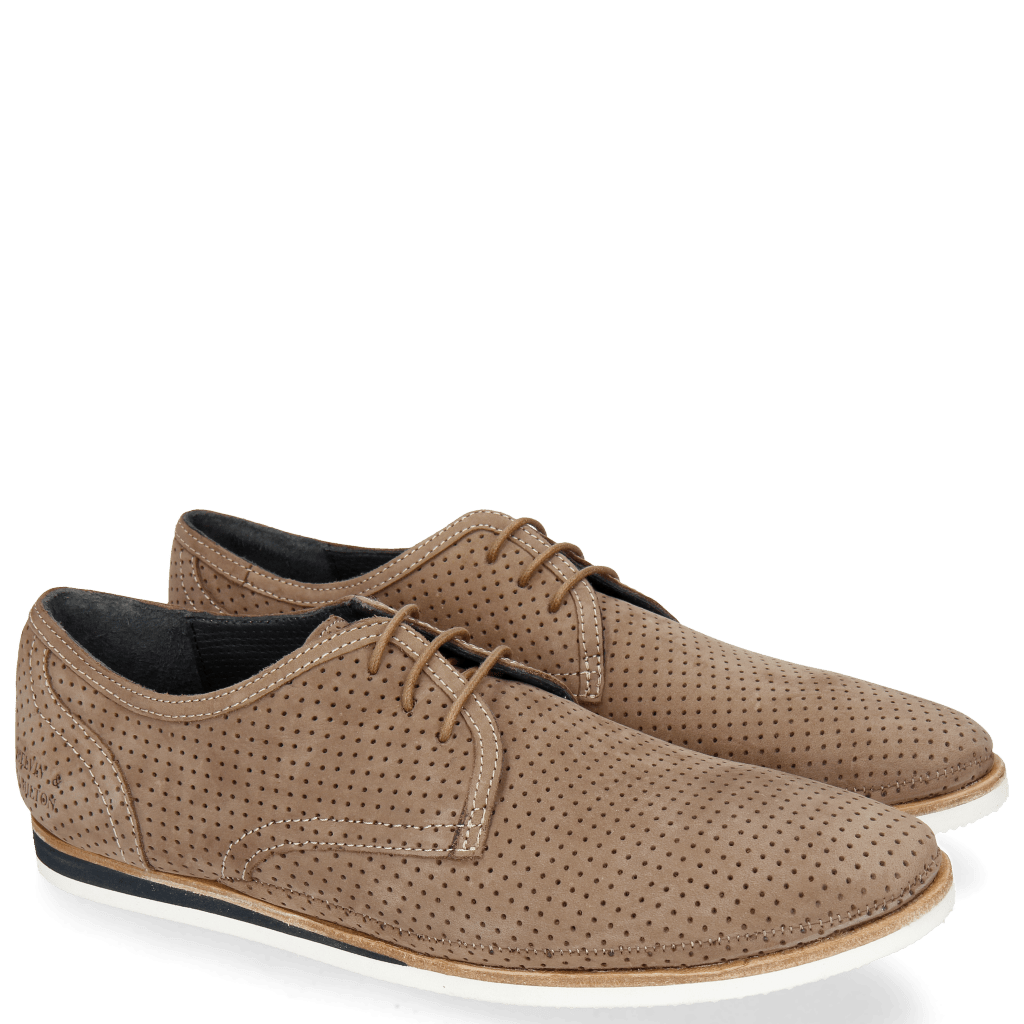 Derby Schuhe Florian 1 Nubuk Perfo Dark Taupe