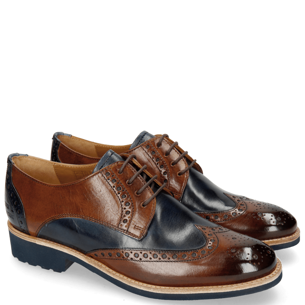 Derby Schuhe Amelie 3 Wood Navy