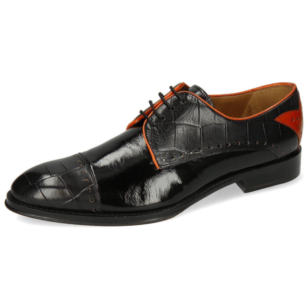 Derby Schuhe Kane 30 Turtle Black Soft Patent Orange