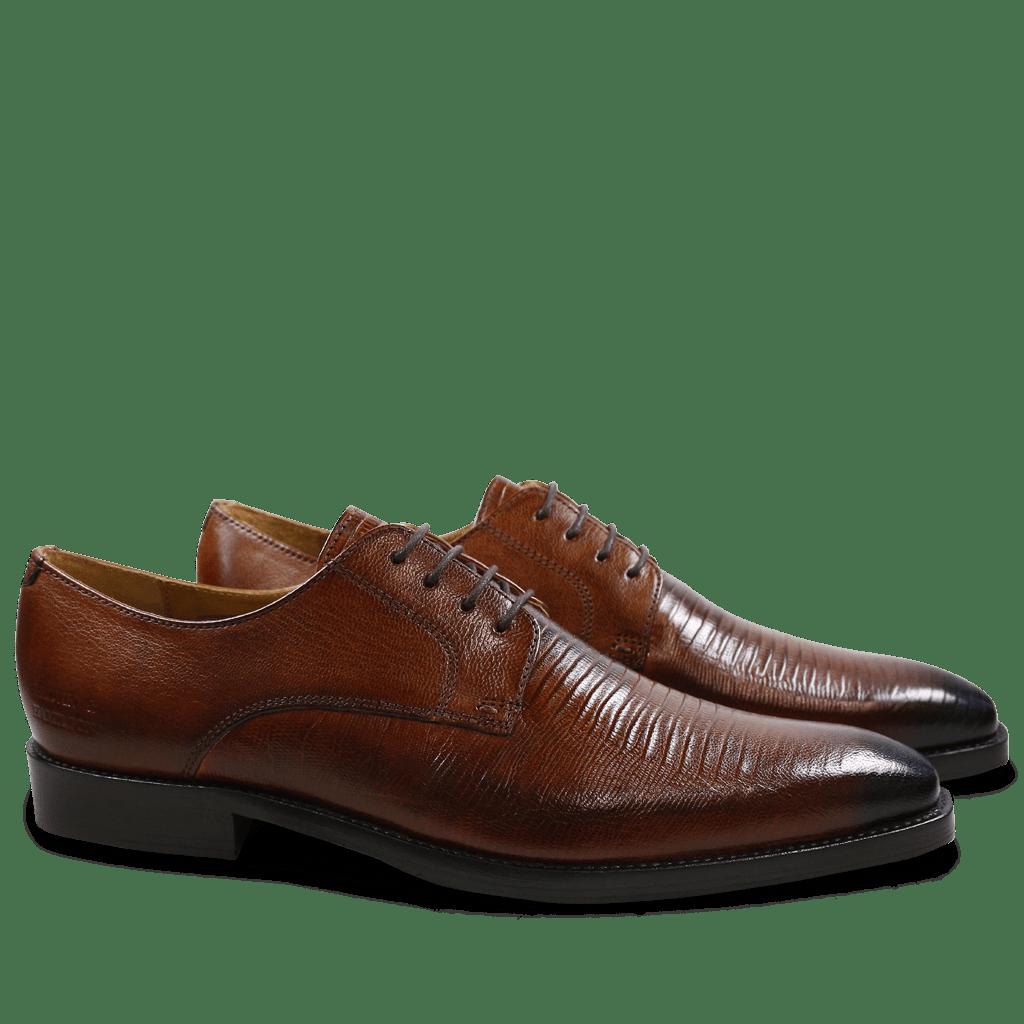 Derby Schuhe Martin 1 Venice Guana Wood Toe Electric Blue