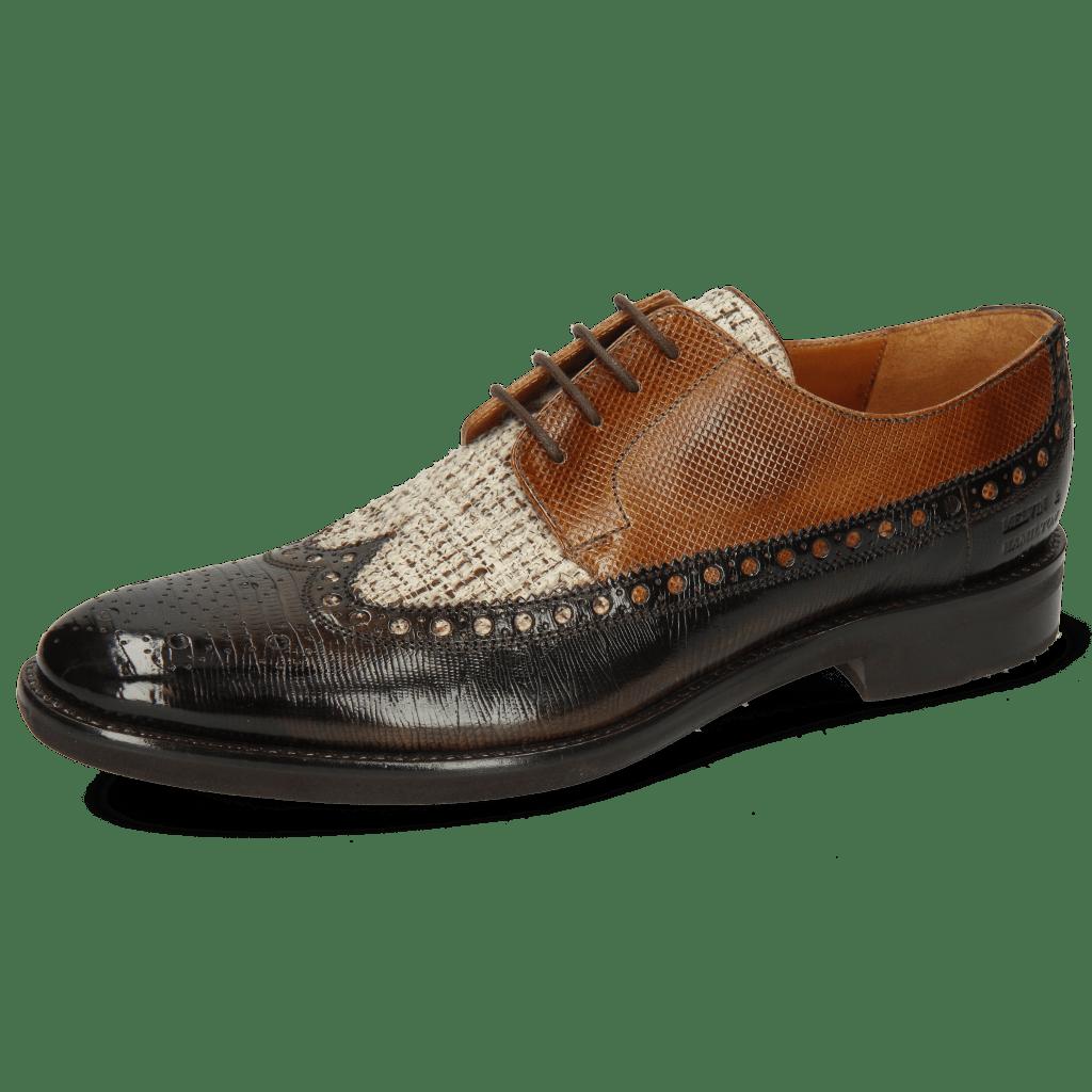 Derby Schuhe Clint 34 Guanna Espresso Textile Pixel Cedar