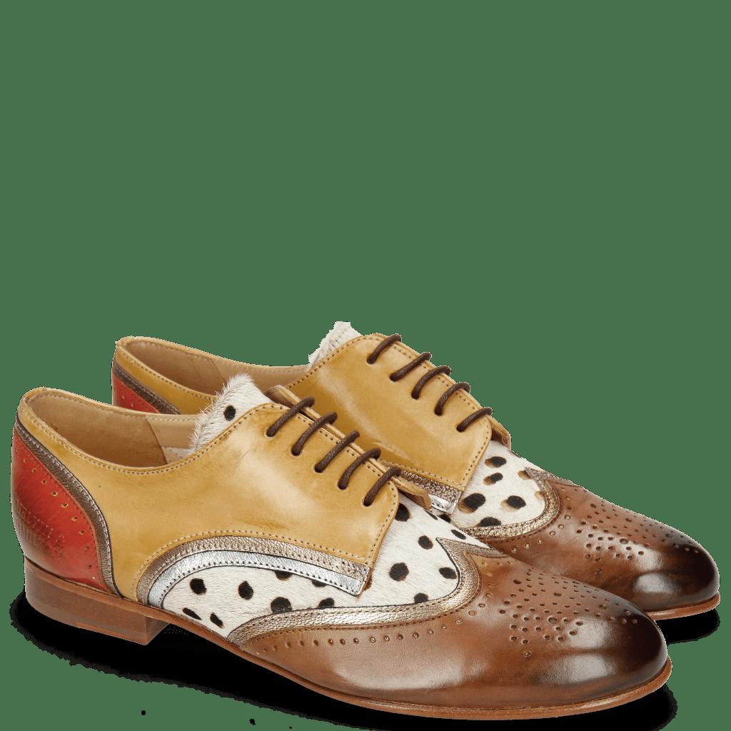 Derby Schuhe Sally 15 Vegas Nougat Sand Nappa Aztek Gold Silver Hairon Wildcat