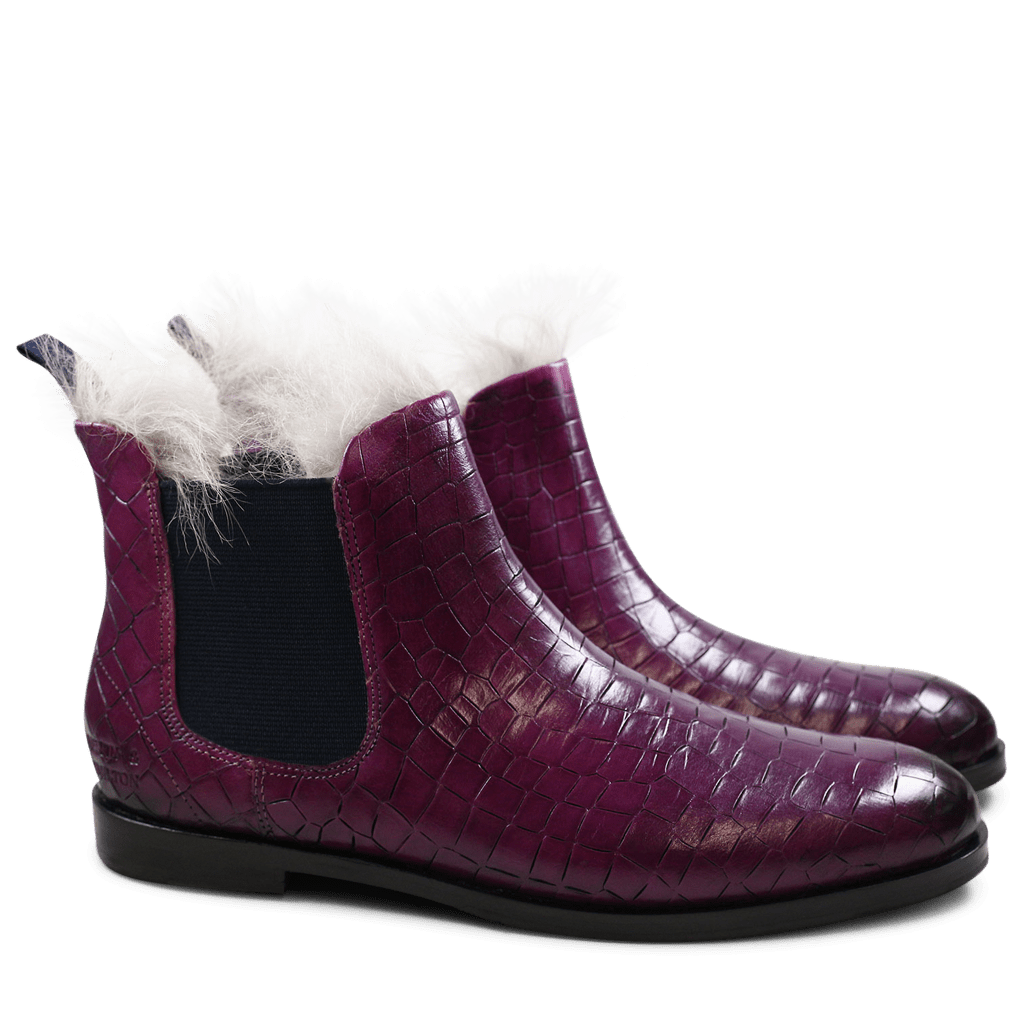 Stiefeletten Susan 10 Crock Eggplant Fur Lining Taupe Elastic Navy HRS