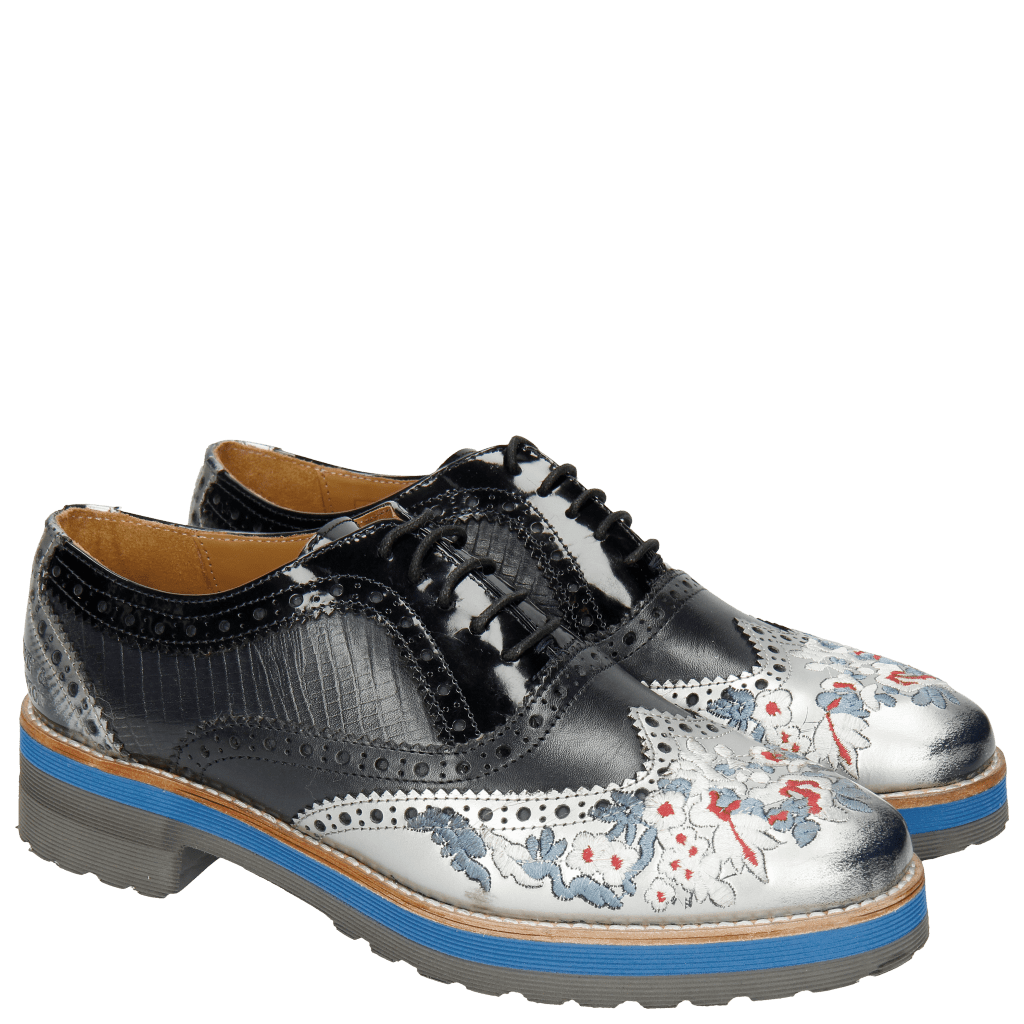 Oxford Schuhe Esther 9 Brush Ecocalf Patent Guana Silver Navy Embroidery