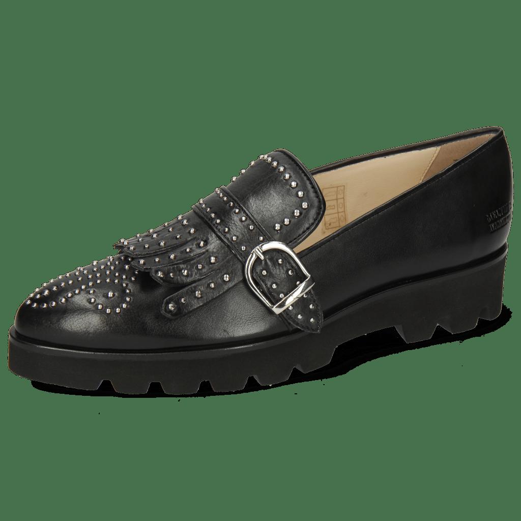 Loafers Jessy 26 Nappa Glove 2 Black Rivets