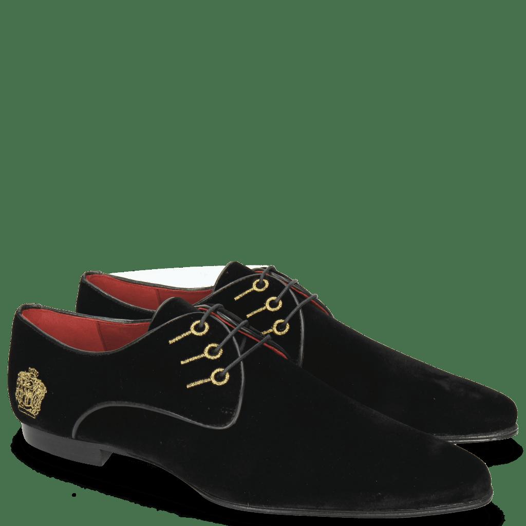 Derby Schuhe Sidney 7  Velluto Black Embroidery Crown