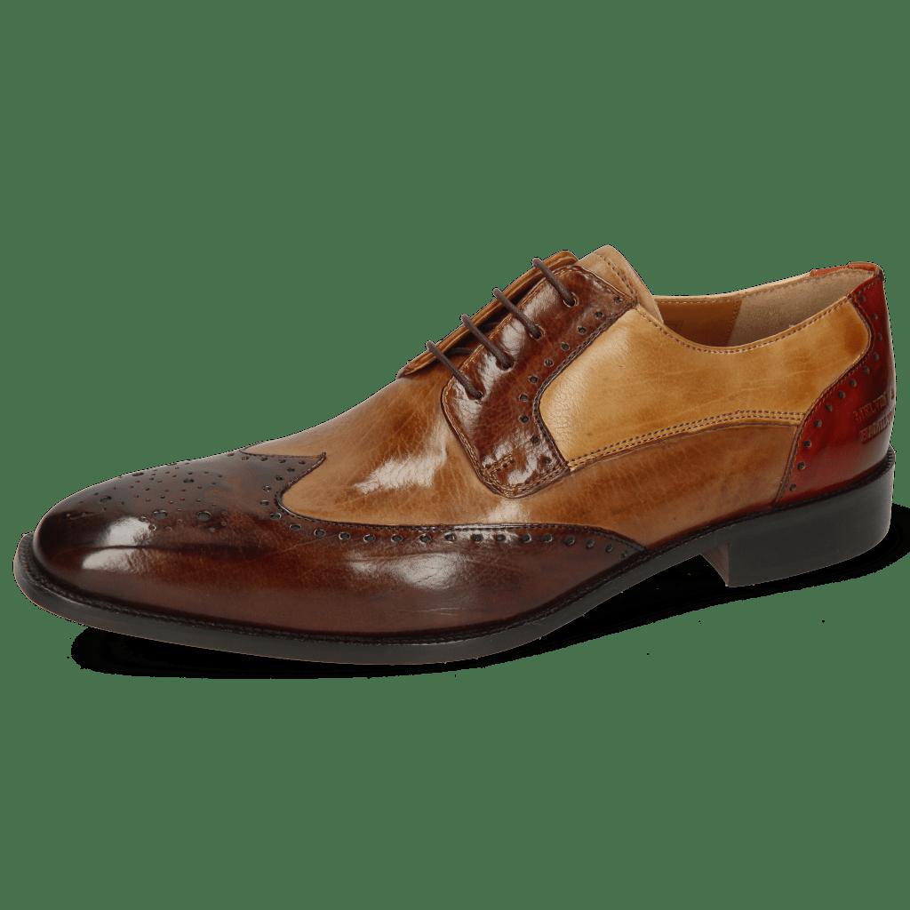 Derby Schuhe Jeff 14 Imola Dark Chocolate Tortora Wood Sand Brandy