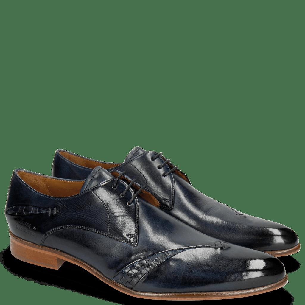 Derby Schuhe Toni 40 Woven Navy Lining Rich Tan