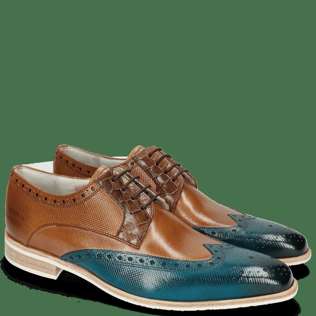 Derby Schuhe Lewis 3 Dice Mid Blue Woody Crock Dark Brown