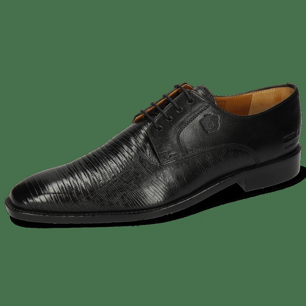 Derby Schuhe Xabi 3 Venice Lizzard Black M&H Rubber Navy