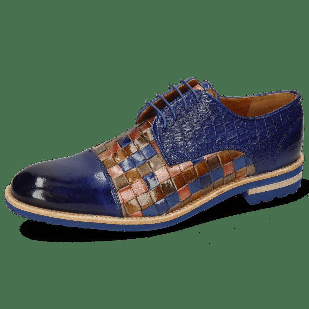 Derby Schuhe Eddy 11 Woven Multi Little Croco Midnight
