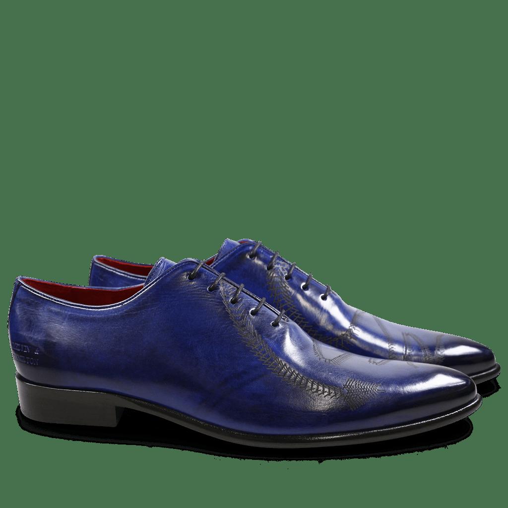 Oxford Schuhe Toni 26 Crust Electric Blue Lasercut Snake LS Black