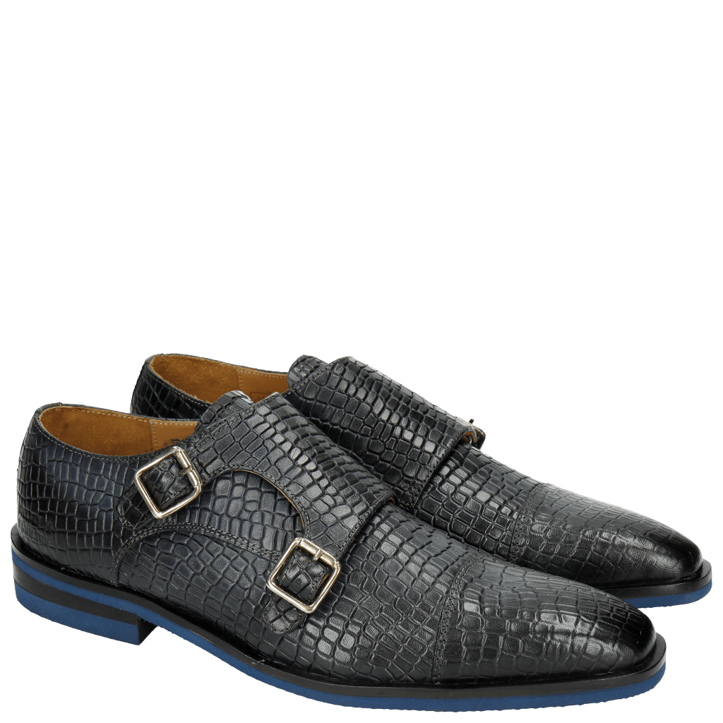 Monk Schuhe Austin 8 Light Crock Navy Modica Blue