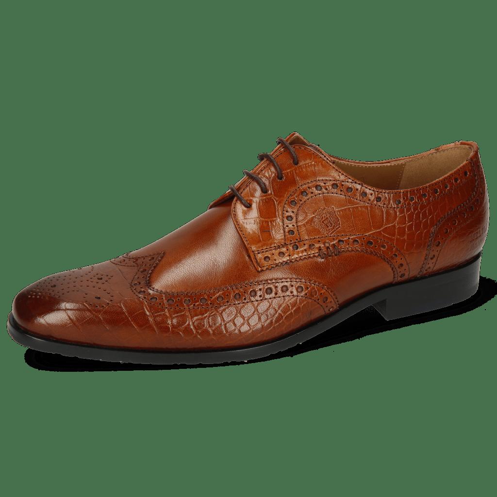 Derby Schuhe Rico 2 Venice Big Croco Wood