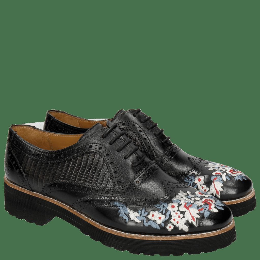 Oxford Schuhe Esther 9 Brush Ecocalf Guana Black Embrodery Black