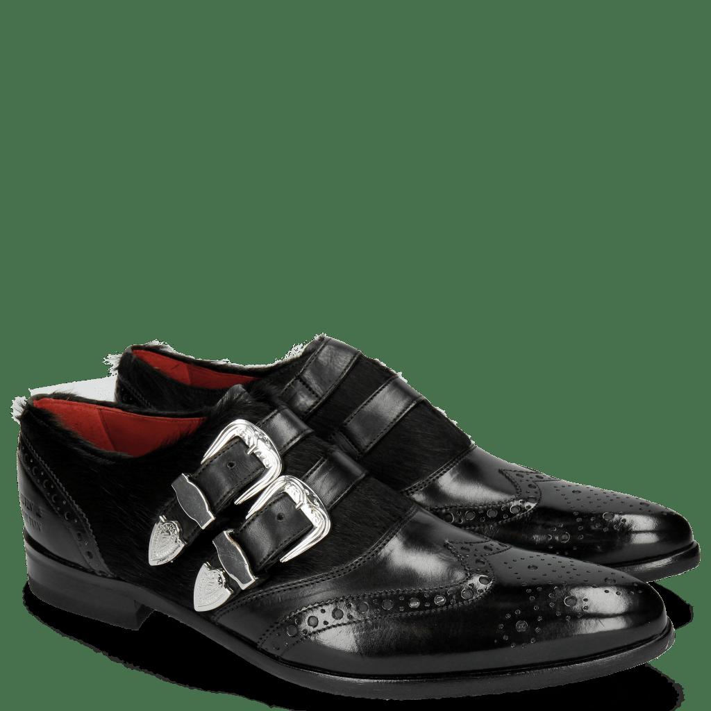 Monk Schuhe Toni 28 Black Hair On Black