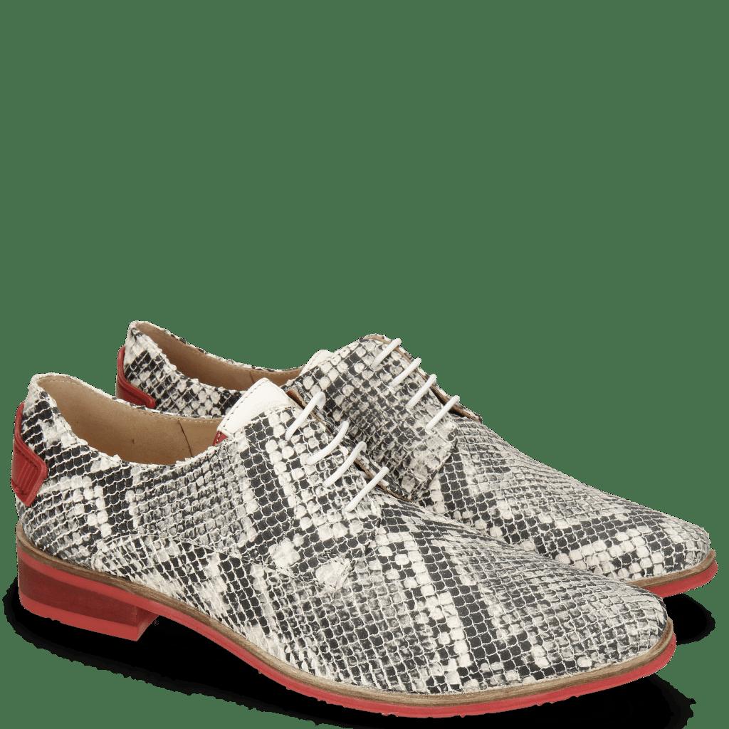 Derby Schuhe Ivy 4 Snake Nappa Ivory