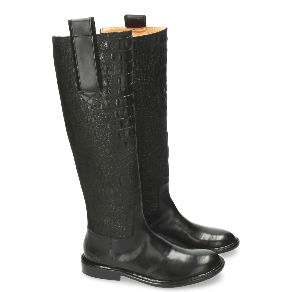 Stiefel Sally 63 Croco Suede Black Strap Black New HRS Thick