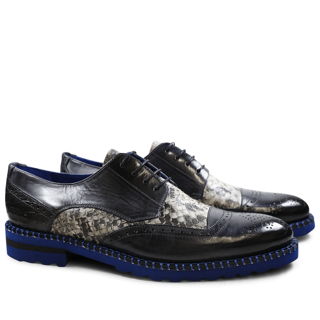 Derby Schuhe Henry 13 Snake Crock London Fog Black White London Fog Aspen Blue