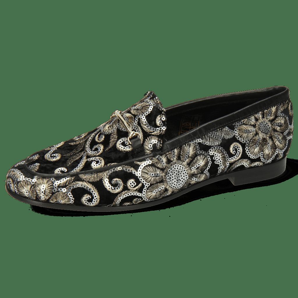 Loafers Scarlett 22 Textile Zardosi Black Trim Gold