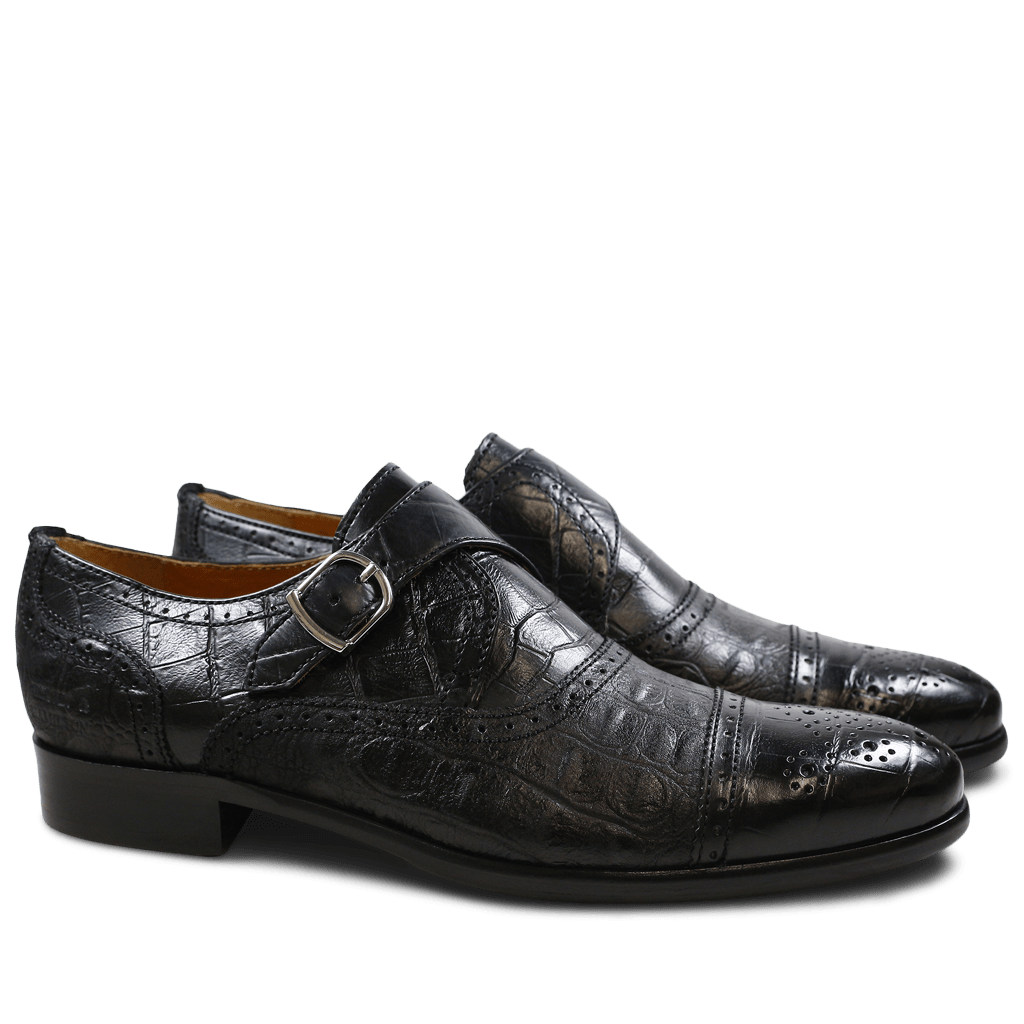Monk Schuhe Henry 11 Alligator Suede Croco Black HRS