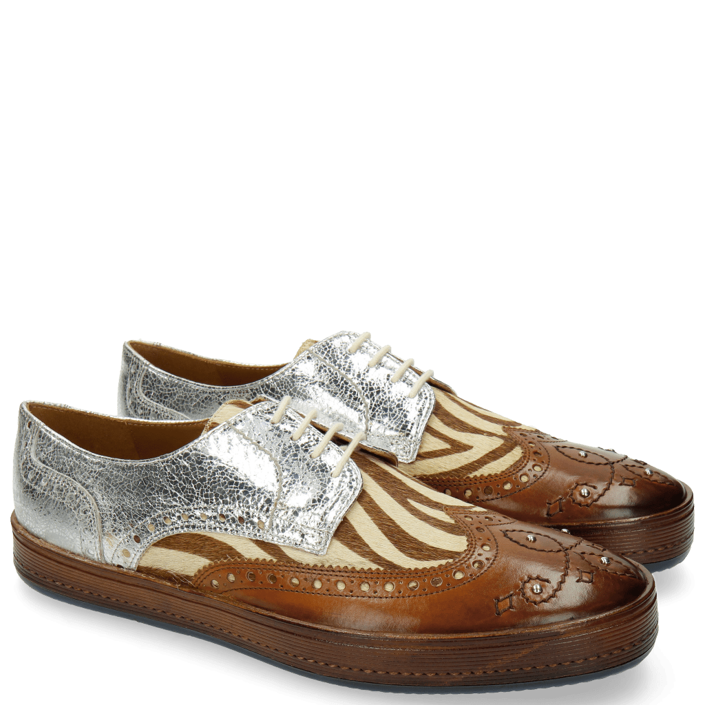 Derby Schuhe Alfred 5 Hair On Wood Zebra Silver
