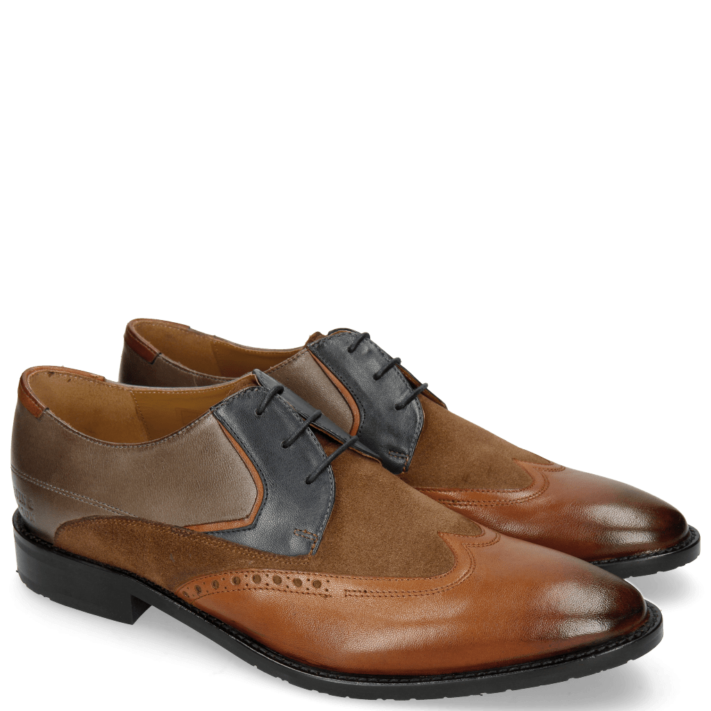 Derby Schuhe Victor 9 Rio Wood Navy Stone Suede Pattini Cognac Textile