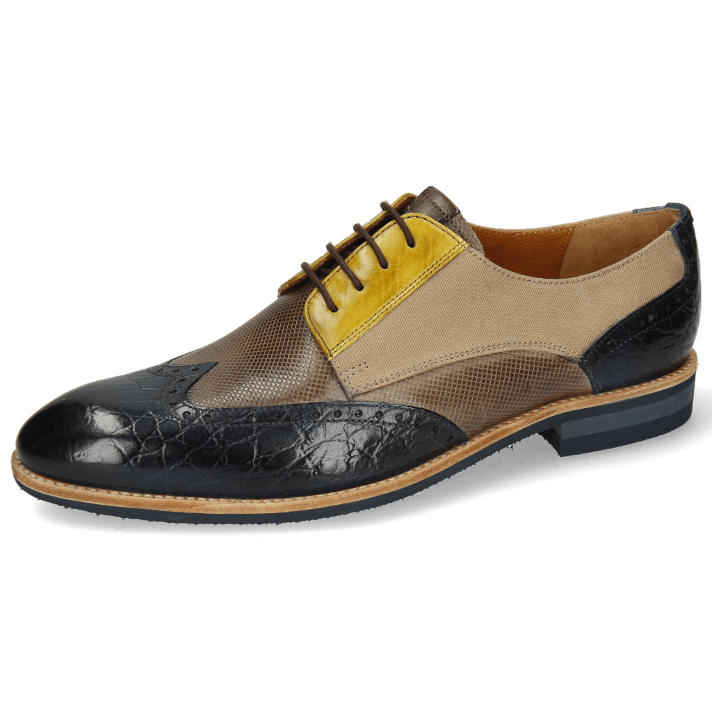 Derby Schuhe Bobby 1 Croco Marine Imola Dice Chestnut Vegas Olivine Textile Indonesia