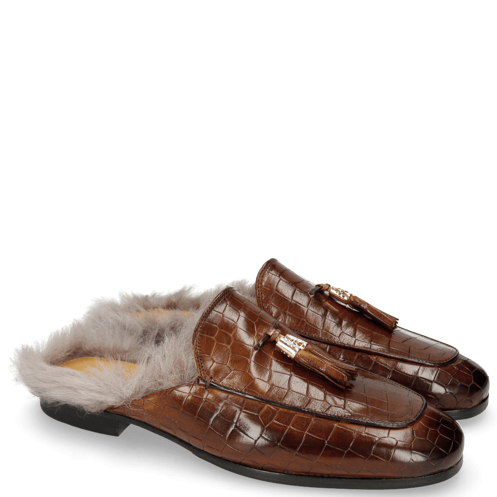 Pantoletten Clive 5 Crock Wood Fur Long Taupe