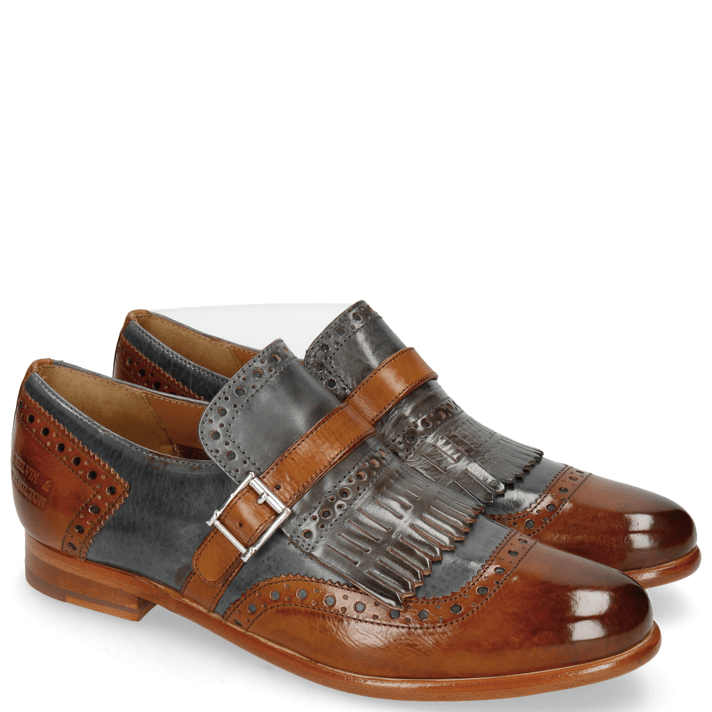 Monk Schuhe Selina 2 Cognac Sky Blue