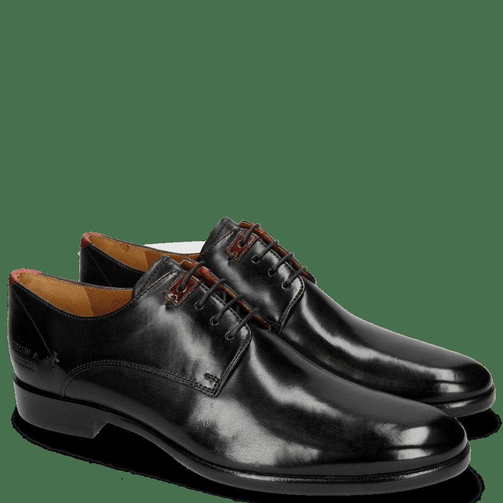 Derby Schuhe Clint 1 Black Deco Pieces Ruby