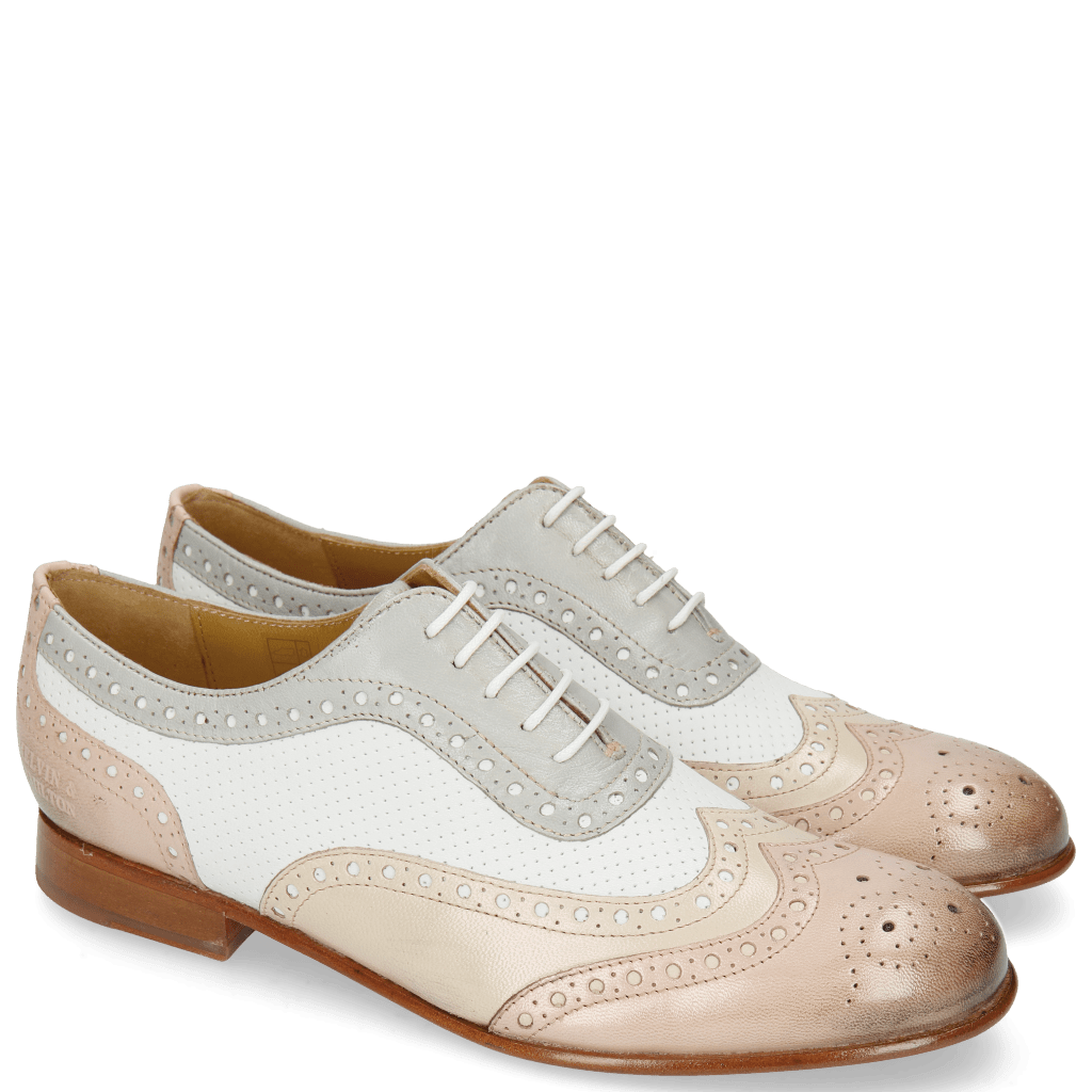 Oxford Schuhe Sally 97 Salerno Pale Rose Nude Perfo White French Grey