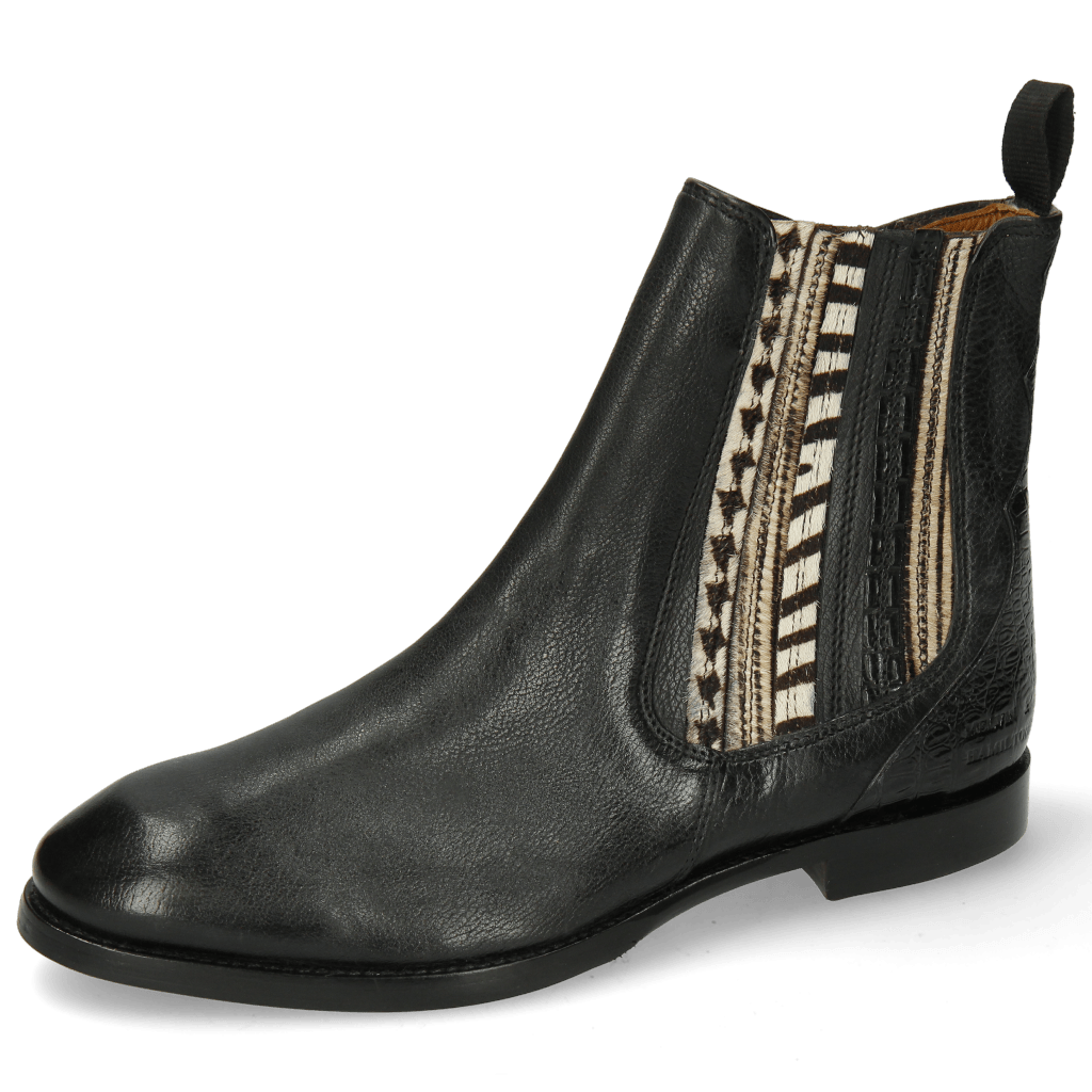 Stiefeletten Lexi 2 Pisa Black Croco Hairon Stripes