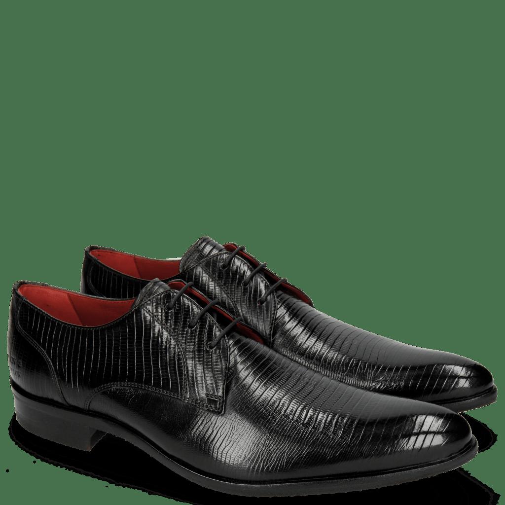 Derby Schuhe Toni 1 Lizzard Black Lining Red